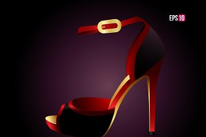 High heel on the black background