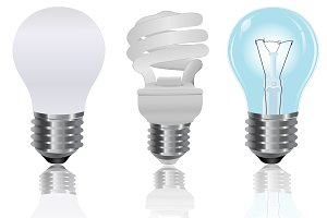 Three, type, light, bulbs
