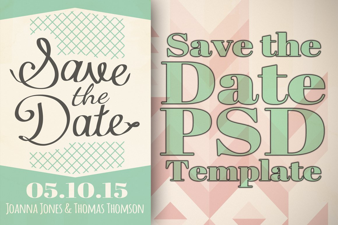 Save the date template invitation templates creative market pronofoot35fo Images