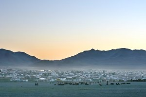 Mongolian village at sunset