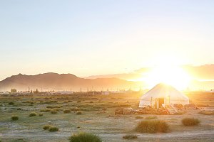 Mongolin yurt at beautiful sunset