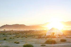 Mongolin yurt at beautiful sunset