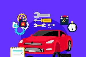 Tire Service Automobile Flat Concept