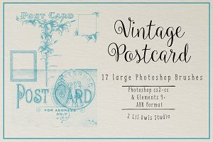 Vintage Post Card Photoshop Brushes