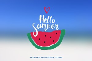Hello summer vector prints