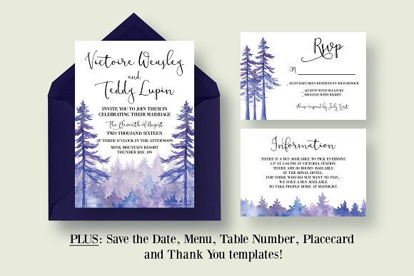 Enchanted Forest Themed Wedding Invitations: Enchanted Forest Wedding Suite