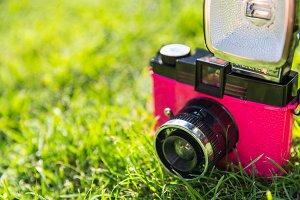Pink retro camera