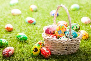 Unique Easter eggs in basket.