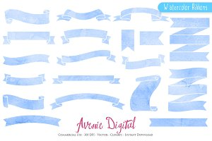 Blue Watercolor Ribbon Banners