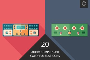 Audio compressor flat icon set
