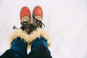 Red Snow Boots