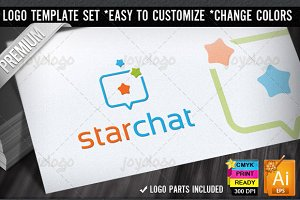 Stars Box Social Chat Logo Template