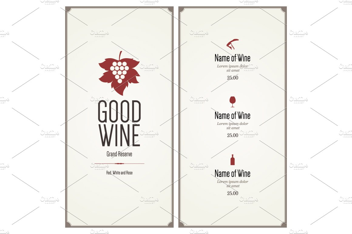 wine list template for restaurant card templates creative market. Black Bedroom Furniture Sets. Home Design Ideas