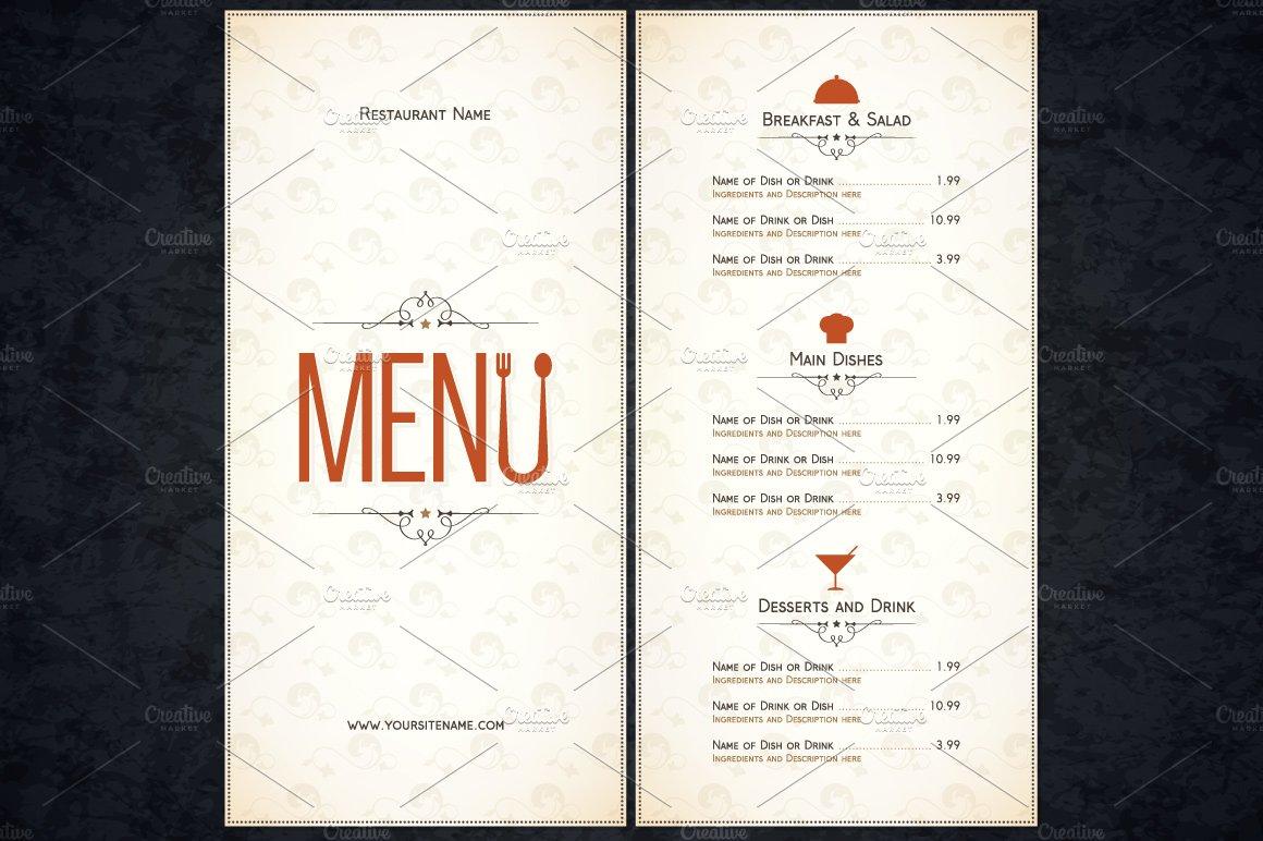 restaurant menu template card templates creative market. Black Bedroom Furniture Sets. Home Design Ideas