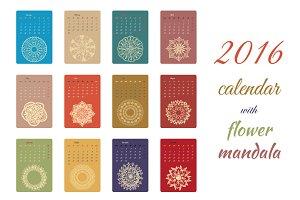 Calendar 2016 with mandala