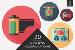 I love retro flat round icon set