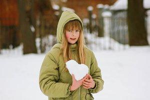 blonde girl winter portrait