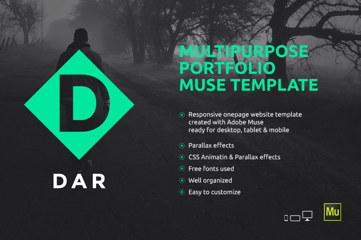 DAR - Responsive Adobe Muse Template ~ Website Templates ~ Creative ...