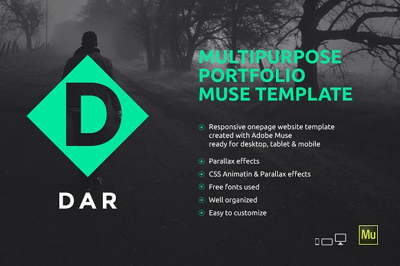 Dar Responsive Adobe Muse Template Website Templates Creative
