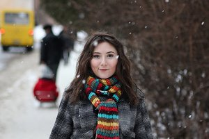 young woman snowing winter portrait