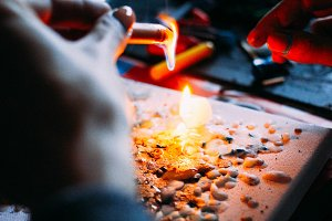 paint wax with fire