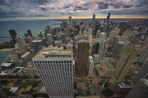 Overlooking Big City Chicago Skyline