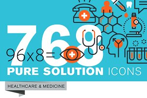 Set of Thin Line Icons of Healthcare