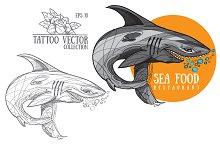 Shark. Classic tattoo illustration