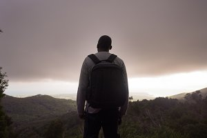 African American Male Backpacker