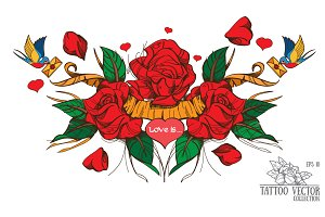 Roses. Classic tattoo
