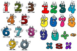 Cartoon colorful numbers and digits