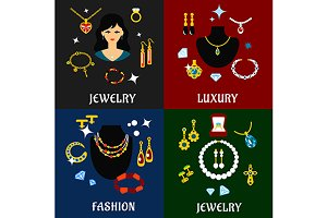 Jewelry and accessories flat icons