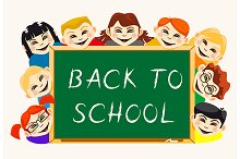 Children near school blackboard