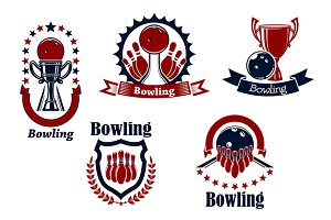 Bowling sport game icons