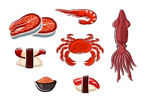 Fresh seafood and sea animals