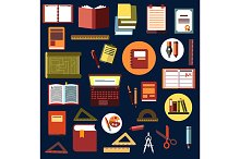 Education and school flat icons