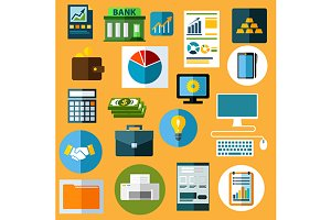 Business and management flat icons