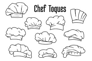 White chef caps and toques set