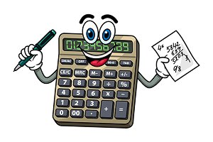Cartoon calculator with pen and note