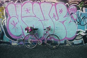 Bicycle With Flowers Graffiti Wall