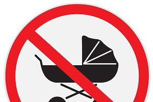 No, baby, carriage, sign