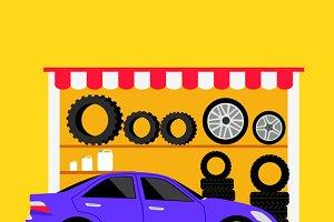 Tire Store Automobile Flat Concept