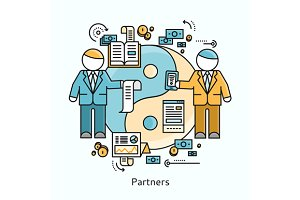 Partners Icon Flat Design Concept