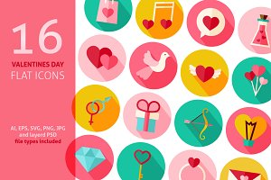Valentines Day Vector Flat Icons