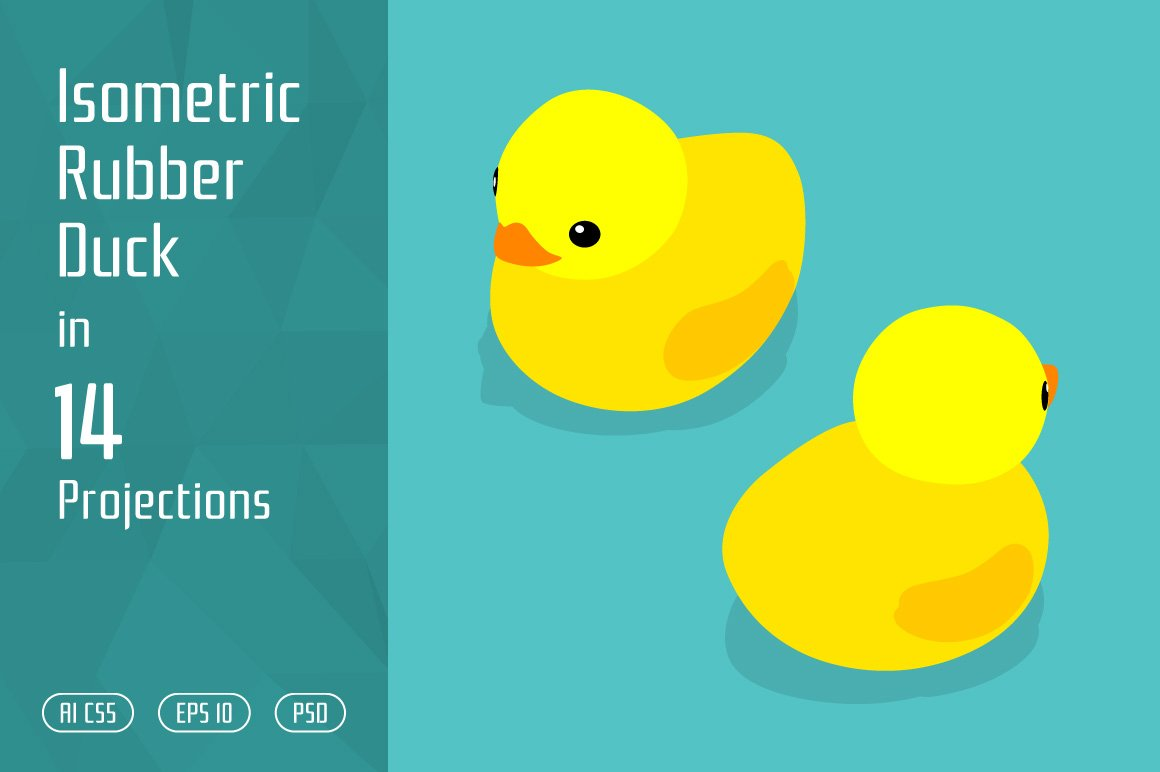 Isometric rubber duck graphic objects creative market fandeluxe Image collections
