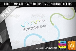 Digital Sound Waves Logo Template