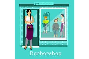 Barbershop Facade with Customers