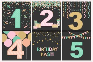 Birthday set of greeting elements