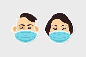 Faces in a protective masks. Vector