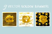 Set of Golden vector banners